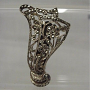 SALE Dress Clip SILVER Art Nouveau  Marcasite  Setting