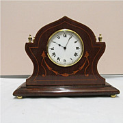 SALE Antique Clock French Victorian with Inlay Walnut Case