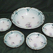 REDUCED Bowl and 4 Individual Matvhing Servings Art Nouveau Porcelain Service for 4