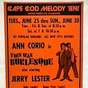SALE Theater Poster for Summer Show This was Burlesque Cape Cod Melody Tent