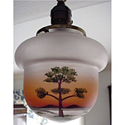 SALE Ceiling Light with Single Drop Acorn Shaped Hand Painted Shade  $250