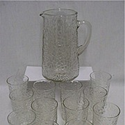 REDUCED Pitcher Set Matching Pattern with 12 Individual Glasses