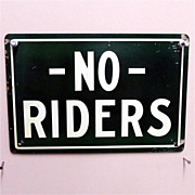 SALE Wagon Sign NO Riders Tin Advertising
