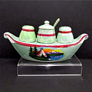SALE Luster Ware Gondola Condiment Set German Porcelain