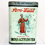SALE Tea Tin Advertising Perri Walla Indian Ceylon Tea