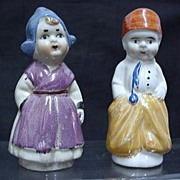 SALE Dutch Couple Salt and Pepper Set Lusterware Shakers