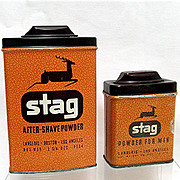 REDUCED Two Stag Advertising Talc Tins by Rexall