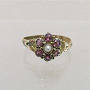 SALE Antique Ring Amethyst and Pearl Flower Cluster  Size 9