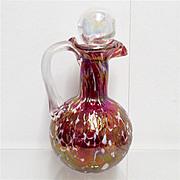 REDUCED Cruet  Red Iridescent American Glass