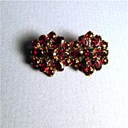 SALE Garnet Pin or Brooch Double Flower Cluster