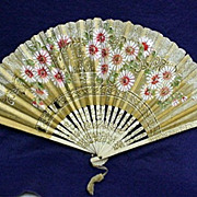 REDUCED Fan Hand Painted Rice Paper Floral