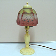 SALE Lamp Antique Table or Boudoir Obverse Painted Glass Shade