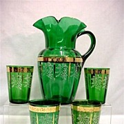 REDUCED Pitcher Set with 4 Glasses Lemonade or Water Set Antique American Victorian Glass