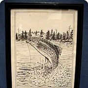 SALE Trout Print  Framed and Signed Albert Labaff  50 % Off