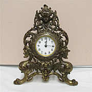 SALE Easel Clock Waterbury Clock Co. Gilted Cherubs and Griffins