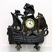 SALE Large Cast Iron Clipper Ship Clock