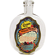SALE Crown Hair Tonic by Dr. J. B. Lynas  4 oz.  Glass Bottle