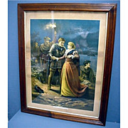 SALE Framed Lithograph Escape of Mary Queen of Scots