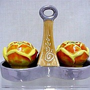 SALE Salt and Pepper Set 3 Piece Lusterware
