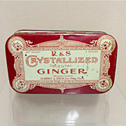 SALE R & S Crystallized  Oriental Ginger Advertising Tin