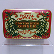 SALE Spice Tin LYONS Crystallized Canton Stem Ginger Advertising Tin