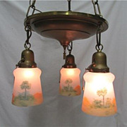 SALE American Chandelier Light Fixture with 3 Matching Hand Painted Glass Shades