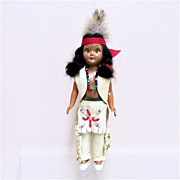 SALE Indian Doll in Native Dress Circa 1950