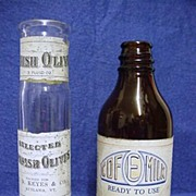SALE Two Food Product Bottles  Amber Glass Cofemilk and Spanish Olives