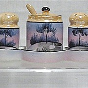SALE Luster Ware Condiment Set Hand Painted