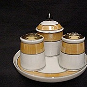 SALE Lusterware Condiment Set Complete with Salt Pepper Mustard Pot Spoon in Tray