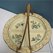 SALE Serving Dish Porcelain with Bamboo Handle