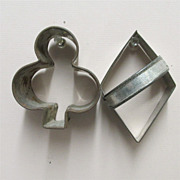 SALE Cookie or Cake Cutters In Tin Large Card Party Shapes Diamond and Club Shape