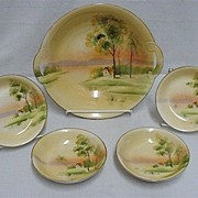 SALE Nippon Porcelain  Hand Painted  Master Bowl and Four Servings