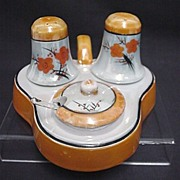 SALE Condiment Set $45 Lusterware Salt Pepper Mustard Spoon and Tray