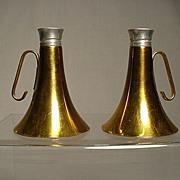 SALE Salt and Pepper Set Brass Horn Shakers