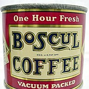 REDUCED Boscul Coffee Savings Bank Antique Advertising Tin Mint Condition