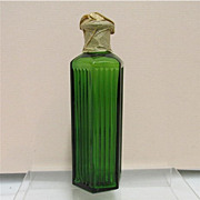 SALE Poison Bottle Green Ribbed Glass