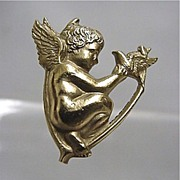 SALE Hat Pin Winged Cupid Gold Gilt Hatpin  $155