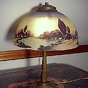 SALE Antique Lamp Pittsburgh with Reverse Painted Shade