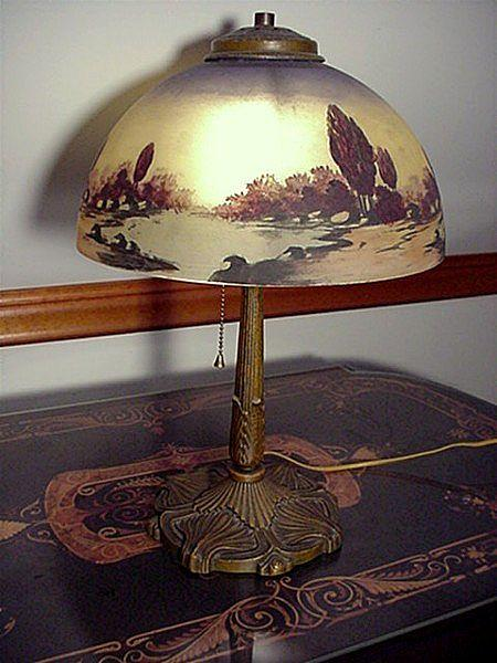 Antique Lamp Pittsburgh With Reverse Painted Shade From