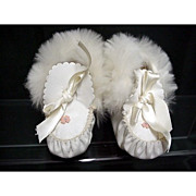 SALE Child or Doll White Kid Leather Fur Trimmed Booties MINT Condition
