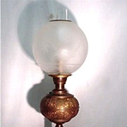 SALE Banquet Lamp in Brass with Frosted and Etched Globe