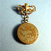 SALE Lapel Pin with Engraved Locket