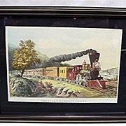 SALE Framed Railroad Train Print