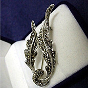 SALE Marcasite  Silver Pin or Brooch Antique