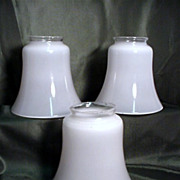 SALE Three Antique Glass Shades for Drop Light Fixture