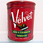 SALE Velvet Humidor Pipe & Cigarette Tobacco Advertising Tin
