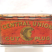 REDUCED Central Union Cut Plug Advertising Tobacco Tin
