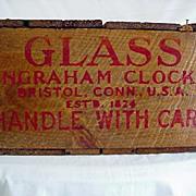 SALE Ingraham Clock Glass Wood Box