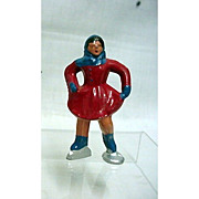 SALE Barclay Cast Iron Girl Skater in Red
